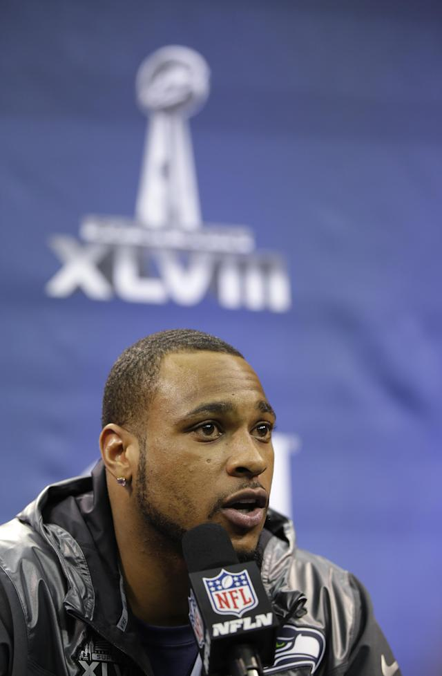 Seattle Seahawks' Percy Harvin speaks during media day for the NFL Super Bowl XLVIII football game Tuesday, Jan. 28, 2014, in Newark, N.J. (AP Photo/Matt Slocum)