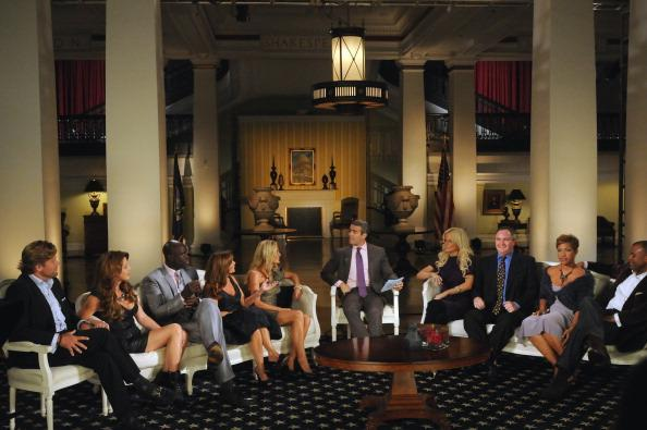 "The Real Housewives of DC Season 1 Reunion - Pictured: (l-r) Rich Amons, Mary Schmidt-Amons, Ebong Eka, Lynda Erkiletian, Catherine Ommanney, Andy Cohen, Michaele Salahi, Tareq Salahi, Stacie Turner, Jason Turner<span class=""copyright"">William B. Plowman/NBCU Photo Bank/Getty Images</span>"