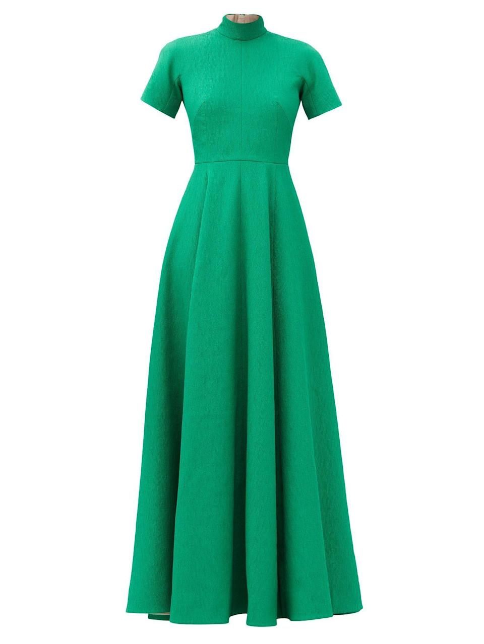"""<p><strong>Emilia Wickstead</strong></p><p>matchesfashion.com</p><p><strong>$3160.00</strong></p><p><a href=""""https://go.redirectingat.com?id=74968X1596630&url=https%3A%2F%2Fwww.matchesfashion.com%2Fus%2Fproducts%2F1387046&sref=https%3A%2F%2Fwww.townandcountrymag.com%2Fstyle%2Ffashion-trends%2Fg10344923%2Fkate-middleton-favorite-fashion-brands-designers%2F"""" rel=""""nofollow noopener"""" target=""""_blank"""" data-ylk=""""slk:Shop Now"""" class=""""link rapid-noclick-resp"""">Shop Now</a></p><p>She often wears brightly colored gowns designed by Emilia Wickstead to formal events.</p>"""