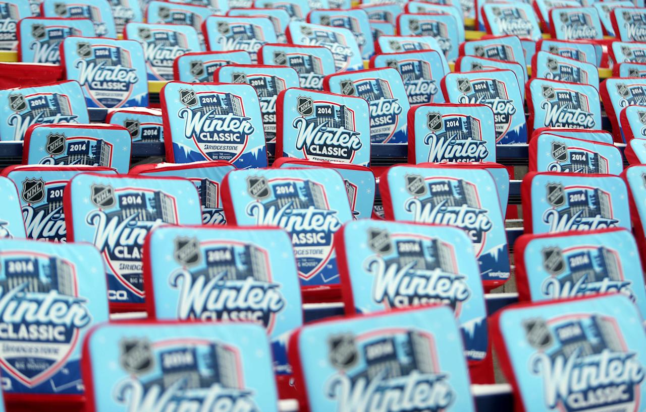 Dec 31, 2013; Ann Arbor, MI, USA; A general view of seat cushions placed int he stands during practice the day before the Winter Classic hockey game between the Detroit Red Wings and the Toronto Maple Leafs at Michigan Stadium. (Jerry Lai-USA TODAY Sports)