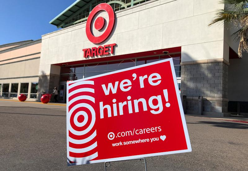 A target store advertises for workers near its entrance in Encinitas, California, U.S., May 24, 2019. REUTERS/ Mike Blake