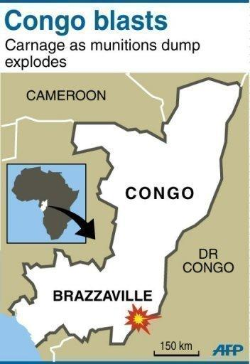 A map locating the west African nation of Congo and its capital Brazzaville. The death toll from powerful explosions at a Congo munitions dump neared 200 on Tuesday, two days after the blasts that also wounded over 1,300 people and left 5,000 homeless