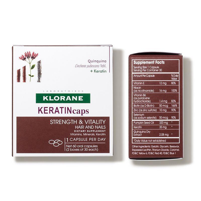 """<p><strong>Klorane</strong></p><p>dermstore.com</p><p><strong>$38.00</strong></p><p><a href=""""https://go.redirectingat.com?id=74968X1596630&url=https%3A%2F%2Fwww.dermstore.com%2Fproduct_KeratinCaps%2BDietary%2BSupplements%2B%2BThinning%2BHair_75392.htm&sref=https%3A%2F%2Fwww.harpersbazaar.com%2Fbeauty%2Fhair%2Fg7807%2Fhair-growth-vitamins%2F"""" rel=""""nofollow noopener"""" target=""""_blank"""" data-ylk=""""slk:Shop Now"""" class=""""link rapid-noclick-resp"""">Shop Now</a></p><p>Klorane's keratin and biotin-packed daily capsules support healthy hair growth while vitamins like B6, zinc, and selenium strengthen hair over time. The brand has a long history in the healthy hair scene, so turning to them for an inside-out solution is a no brainer. </p>"""