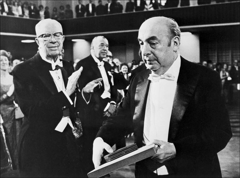 Pablo Neruda is pictured on October 12, 1971, after receiving the Nobel Literature Prize in Stockholm