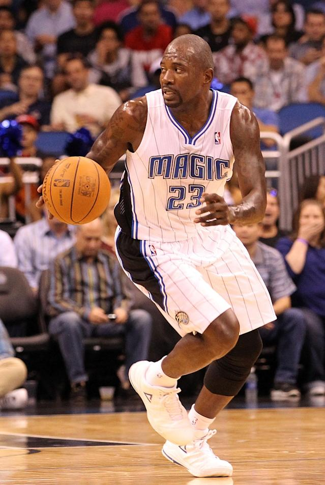 ORLANDO, FL - FEBRUARY 08: Jason Richardson #23 of the Orlando Magic looks to pass during the game agaisnt the Miami Heat at Amway Center on February 8, 2012 in Orlando, Florida. NOTE TO USER: User expressly acknowledges and agrees that, by downloading and or using this Photograph, user is consenting to the terms and conditions of the Getty Images License Agreement. (Photo by Sam Greenwood/Getty Images)