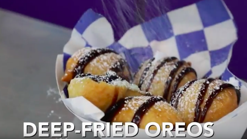 Deep-fried oreos are covered in a layer of pancake batter. Source: Be