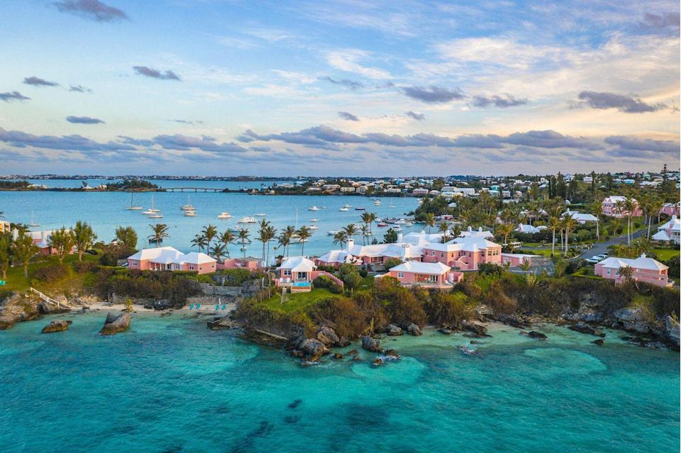 """<p>Known for its pink-sand beaches, friendly culture, and obsession with rum, Bermuda is as vibrant as it is beautiful. This British territory lies in the Northern Atlantic and offers iconic beaches, plenty of natural wonders to explore, and breathtaking waters.</p><p>Embrace all the pink to be found and stay at the beloved <a href=""""https://www.thehamiltonprincess.com/"""" rel=""""nofollow noopener"""" target=""""_blank"""" data-ylk=""""slk:Hamilton Princess"""" class=""""link rapid-noclick-resp"""">Hamilton Princess </a>hotel, beach club, and marina for a legendary taste of Bermuda. </p>"""