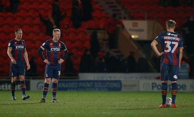 "Soccer Football - League One - Doncaster Rovers vs Bradford City - Keepmoat Stadium, Doncaster, Britain - March 19, 2018 Bradford City's Callum Guy looks dejected Action Images/Craig Brough EDITORIAL USE ONLY. No use with unauthorized audio, video, data, fixture lists, club/league logos or ""live"" services. Online in-match use limited to 75 images, no video emulation. No use in betting, games or single club/league/player publications. Please contact your account representative for further details."