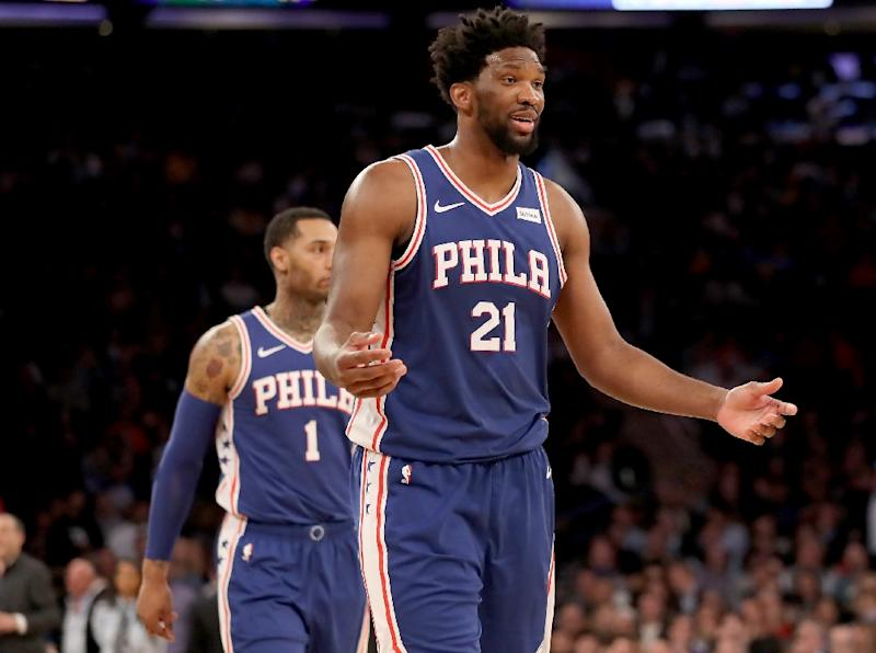 "Joel Embiid described his performance as ""unstoppable"" after the Sixers defeat of the Boston Celtics (AFP Photo/ELSA)"