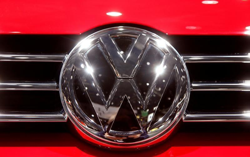 The logo of Volkswagen is seen during the 87th International Motor Show at Palexpo in Geneva