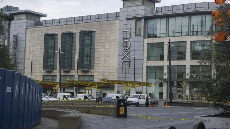 Police vans surround Arndale shopping center , where a man allegedly stabbed five people on October 11 , 2019 , in Manchester England. (Photo by Giannis Alexopoulos/NurPhoto via Getty Images)