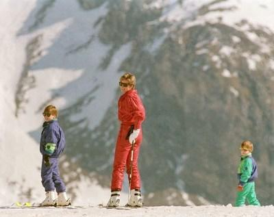 Princess Diana, Harry and William enjoy their first ski trip at the chic resort of Lech, Austria.