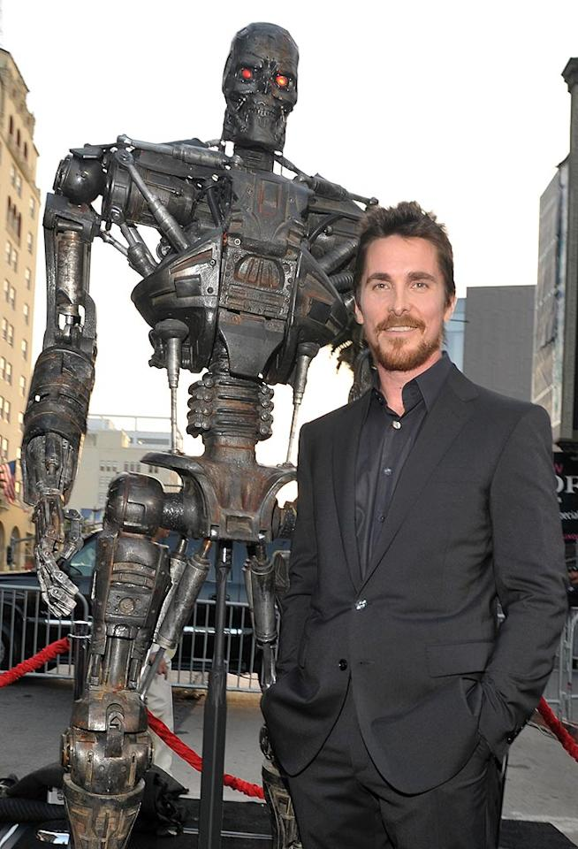 """Christian Bale was all smiles at the premiere of """"Terminator Salvation"""" on Tuesday. McG, the film's director, said he was to blame for the actor's now infamous on-set tirade. """"We were making effectively a war scene, and I wanted the blood up of all my actors,"""" McG explained to """"Access Hollywood."""" """"Everybody was very wound up and everybody was fired up and I wanted him [Bale] that way ... I riled him up!"""" Lester Cohen/<a href=""""http://www.wireimage.com"""" target=""""new"""">WireImage.com</a> - May 14, 2009"""