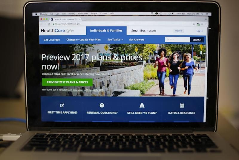 FILE - In this Oct. 24, 2016 file photo, the HealthCare.gov 2017 web site home page as seen in Washington. Republicans are increasingly talking about repairing President Barack Obama's health care overhaul, a softening of tone that comes as their drive to fulfill a keystone campaign promise encounters disunity, drooping momentum and uneasy voters.  (AP Photo/Pablo Martinez Monsivais)