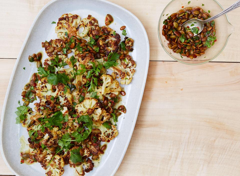 "The perks of being a cauliflower: When the veg is deeply roasted and drizzled with butter, there are many. <a href=""https://www.bonappetit.com/recipe/cauliflower-with-pumpkin-seeds-brown-butter-and-lime?mbid=synd_yahoo_rss"" rel=""nofollow noopener"" target=""_blank"" data-ylk=""slk:See recipe."" class=""link rapid-noclick-resp"">See recipe.</a>"