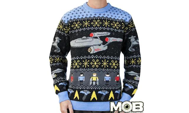 "<p>Set your phasers to stunning; this is one of the most elaborate, cleverly designed ugly Christmas sweaters we've seen. <strong><a href=""https://middleofbeyond.com/collections/movietv/products/star-trek-sweater"" rel=""nofollow noopener"" target=""_blank"" data-ylk=""slk:Buy here"" class=""link rapid-noclick-resp"">Buy here</a></strong> </p>"