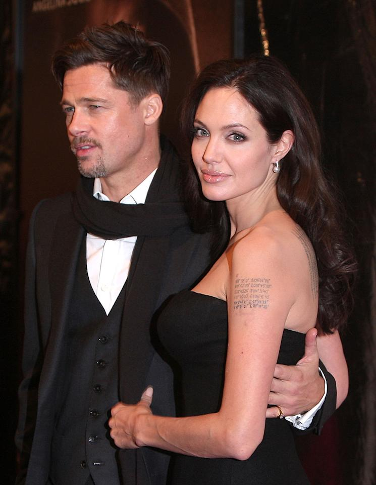 """<a href=""""http://movies.yahoo.com/movie/contributor/1800018965"""">Brad Pitt</a> and <a href=""""http://movies.yahoo.com/movie/contributor/1800019275"""">Angelina Jolie</a> at the 46th Annual New York Film Festival premiere of <a href=""""http://movies.yahoo.com/movie/1809945088/info"""">Changeling</a> - 10/04/2008"""