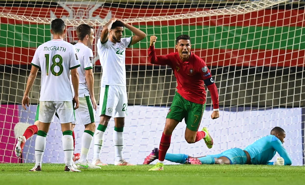 Cristiano Ronaldo of Portugal celebrates after scoring his side's first goal.