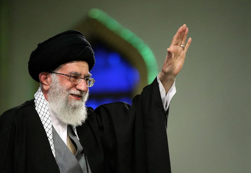 A picture released by the official website of the Centre for Preserving and Publishing the Works of Iran's supreme leader Ayatollah Ali Khamenei, shows him attending a meeting in Tehran on April 9, 2015