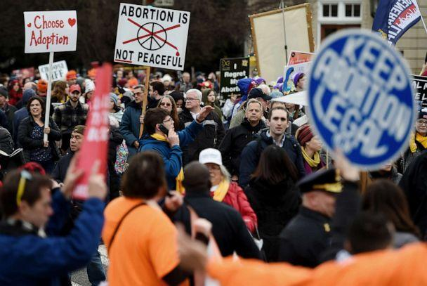 PHOTO: Abortion rights advocates and opponents gather in front of the the U.S. Supreme Court during the 47th annual March for Life on Jan. 24, 2020, in Washington. (Olivier Douliery/AFP via Getty Images, FILE)