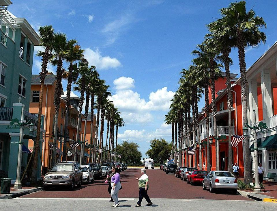 Photo of a tree lined street in Celebration, Florida