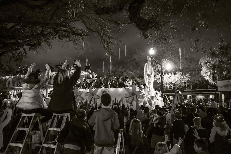 "<p>You might find colorfully decorated ladders throughout a Mardi Gras parade route. While it's become a tradition, it's rooted in practicality: They <a href=""https://bestlifeonline.com/weird-mardi-gras-traditions/"" rel=""nofollow noopener"" target=""_blank"" data-ylk=""slk:help kids see the parade"" class=""link rapid-noclick-resp"">help kids see the parade</a>, too.</p>"
