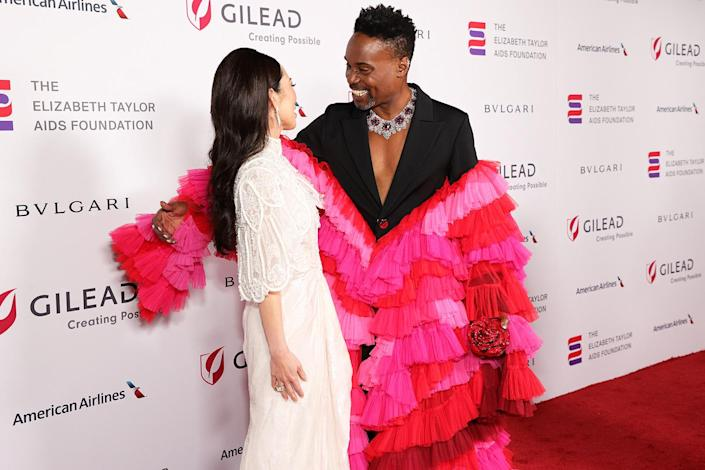 <p>Christine Chiu and Billy Porter share a special moment on the red carpet at the Elizabeth Taylor Ball to End AIDS in West Hollywood on Sept. 17.</p>