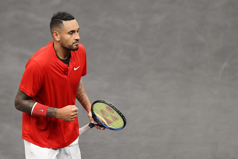 Nick Kyrgios of Team World at the 2021 Laver Cup