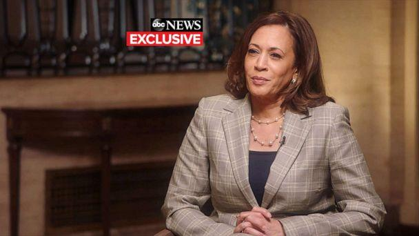 PHOTO: Sen. Kamala Harris participates in her first joint interview with her running mate, former Vice President Joe Biden, in Wilmington, Del., on Aug 21, 2020.PHOTO: (ABC News)
