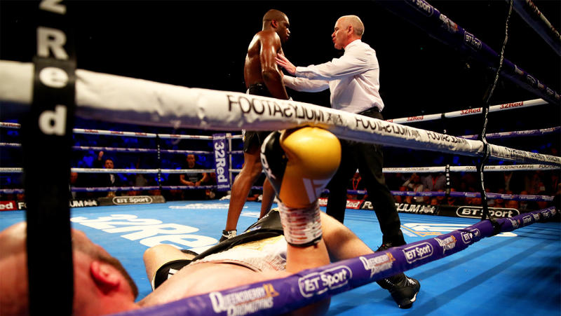 The referee tells Daniel Dubois to go to the corner after he knocked down Nathan Gorman during the British Heavyweight Title fight between Daniel Dubois and Nathan Gorman at The O2 Arena on July 13, 2019 in London, England. (Photo by James Chance/Getty Images)