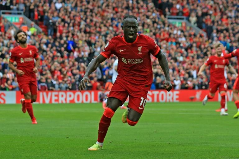 Sadio Mane (centre)scored Liverpool's second goal in a 2-0 win over Burnley