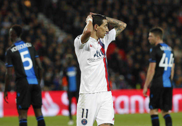 PSG's Angel Di Maria reacts during a Champions League group A soccer match between Paris Saint Germain and Club Brugge, at the Parc des Princes stadium, in Paris, Wednesday, Nov. 6, 2019. (AP Photo/Thibault Camus)