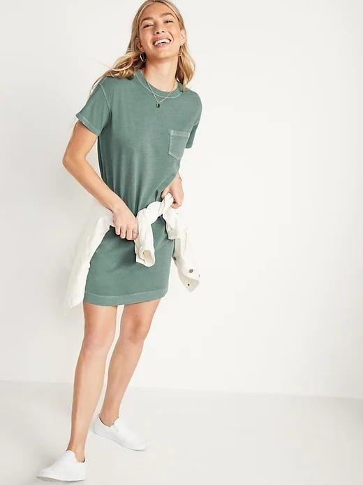 <p>This <span>Old Navy Vintage Garment-Dyed T-Shirt Shift Dress</span> ($25-$30, originally $30) is a stylish way to wear an oversize tee outside of the house, as it has the same well-worn vibe - and super-soft feel - in five fun colors instead.</p>
