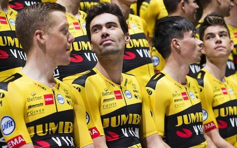 <span>Jumbo-Visma, whose squad has been bolstered with the arrival of Tom Dumoulin (second left), is expected to provide Ineos with a tougher test at this year's Tour de France </span> <span>Credit: Getty Images </span>