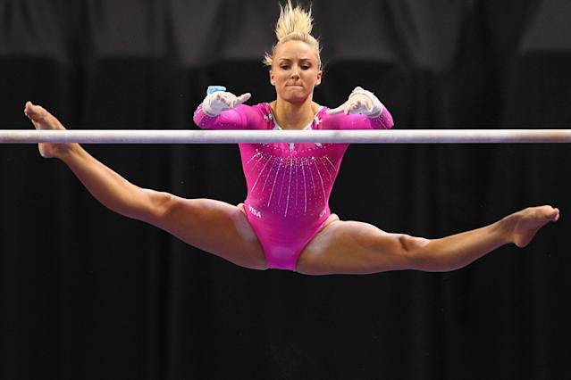 ST. LOUIS, MO - JUNE 8: Nastia Liukin competes on the uneven bars during the Senior Women's competition on day two of the Visa Championships at Chaifetz Arena on June 8, 2012 in St. Louis, Missouri. (Photo by Dilip Vishwanat/Getty Images)