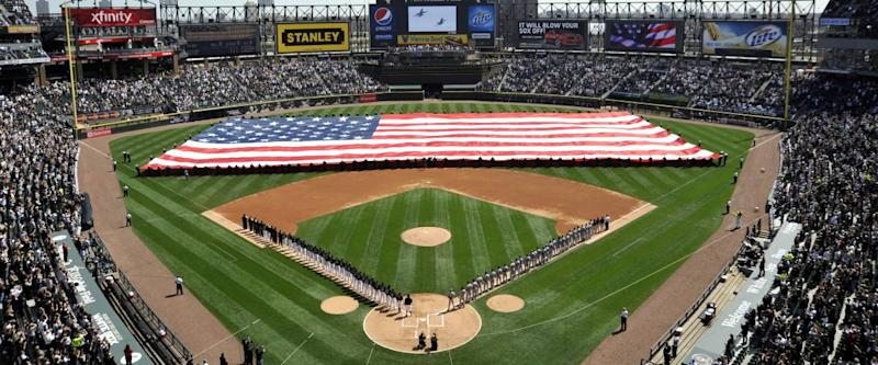 Guaranteed Rate Field with an American flag in the center, celebrating the navy.