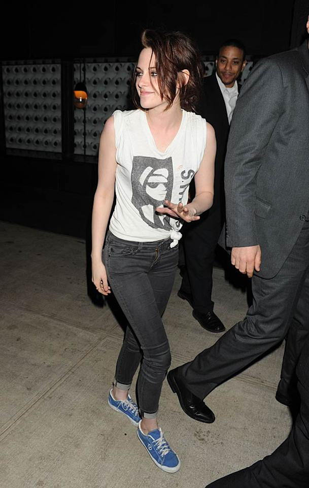 "Kristen Stewart recently shared dinner with a ""mystery man,"" reports HollywoodLife. According to the site, Stewart was having ""a fun night out with a guy"" at the Sunset Tower Hotel in L.A. while Robert Pattinson was in Toronto filming ""Cosmopolis."" For the inside scoop on Stewart's ""mystery man,"" and a surprising bit of dish about what went down at the hotel, read what a pal of the actress leaks exclusively to <a href=""http://www.gossipcop.com/kristen-stewart-mystery-man-sunset-towers-robert-pattinson/"" target=""new"">Gossip Cop</a>. Demis Maryannakis/<a href=""http://www.splashnewsonline.com"" target=""new"">Splash News</a> - May 2, 2011"