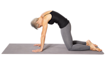 <p><strong>This move stretches the cervical spine to tailbone.</strong></p><ol><li>Begin on the floor on your hands and knees with your spine in a neutral position. As you inhale, arch your back by dropping your belly button toward the floor and look up toward the ceiling and hold.</li><li>Exhale as you round your back up toward the ceiling like an angry cat, lower your head, and drop your shoulders.</li><li>Move between these two positions gently and slowly for 5 to 8 repetitions.</li></ol>