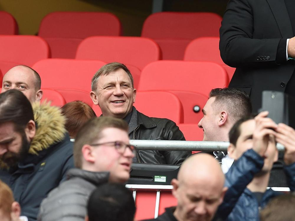 James Bond actor Daniel Craig watched on from the stands at Anfield (Getty)