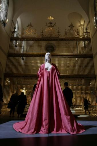 "An evening dress by Valentino on display during the annual fashion exhibition ""Heavenly Bodies: Fashion and the Catholic Imagination"" at The Metropolitan Museum of art"
