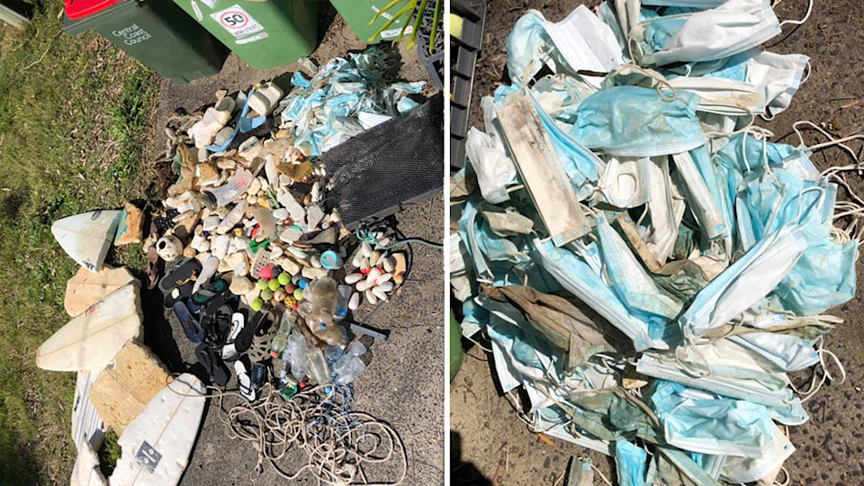 Pictured left is piles of rubbish collected by Louis O'Neill and place in front of bins. Right is a pile of masks collected by Mr O'Neill.