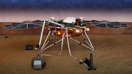 FILE PHOTO:    A life-size model of NASA's Insight spacecraft at JPL