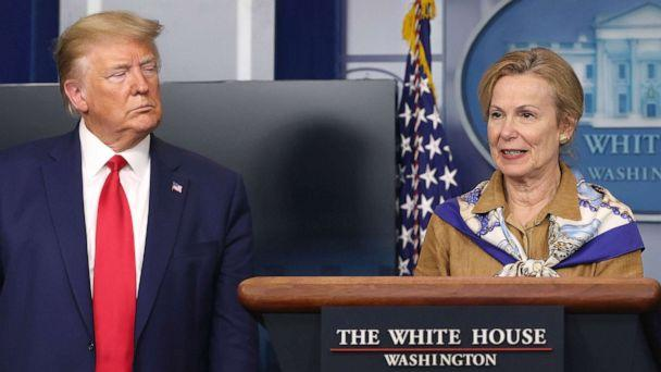 PHOTO: White House coronavirus response coordinator Deborah Birx speaks while flanked by President Donald Trump following a meeting of his coronavirus task force in the Brady Press Briefing Room at the White House, April 6, 2020. (Chip Somodevilla/Getty Images)