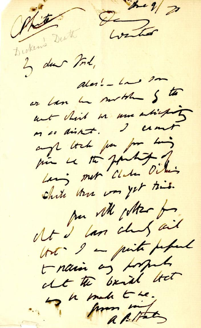 """<span class=""""caption"""">Letter from A.P. Stanley to Frederick Locker, June 9 1870. Locker wrote in pencil towards the top: 'Dickens' Death'.</span> <span class=""""attribution""""><span class=""""source"""">By kind permission of the Armstrong Browning Library.</span>, <span class=""""license"""">Author provided</span></span>"""