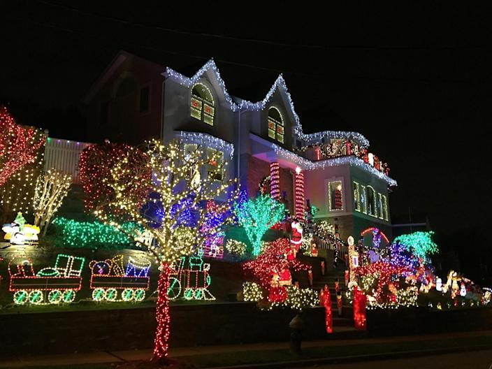 Holiday lights installed by The Christmas Decorators in Staten Island, New York.