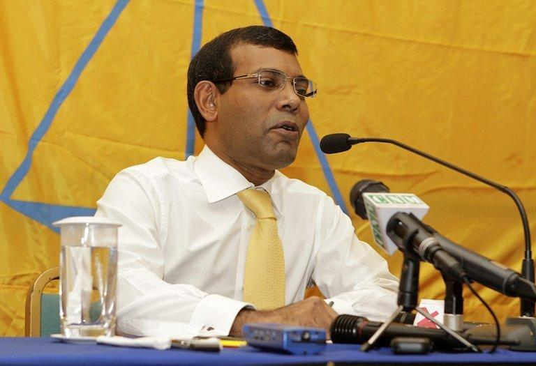 Mohamed Nasheed addresses a press conference after leaving the Indian High Commission in Male on February 23, 2013