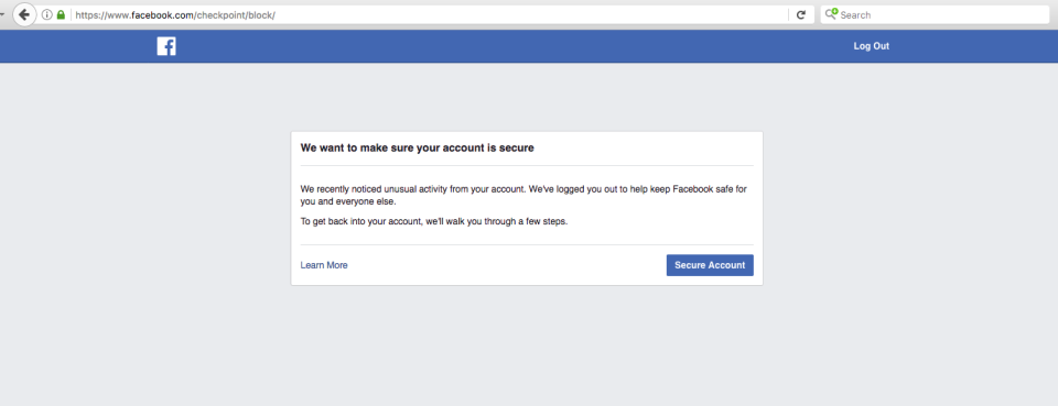 """I tried—and failed—to establish my own fake accounts on Facebook. I got this message the moment I created one fake account and did a Facebook search for """"Breitbart News."""""""