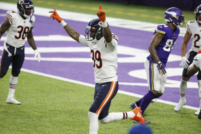 Chicago Bears safety Eddie Jackson (39) celebrates at the end of an NFL football game against the Minnesota Vikings, Sunday, Dec. 20, 2020, in Minneapolis. The Bears won 33-27. (AP Photo/Bruce Kluckhohn)