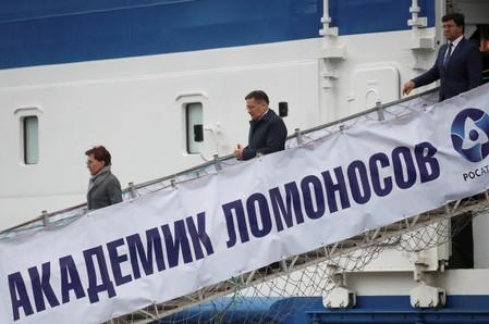 FILE PHOTO: Russia's floating nuclear power plant Akademik Lomonosov leaves Murmansk