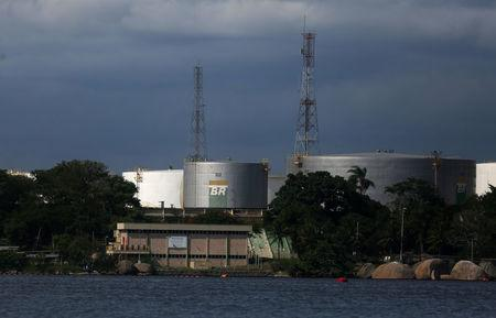 Brazil's state-run oil company Petrobras fuel tanks are seen in the Guanabara bay in Rio de Janeiro